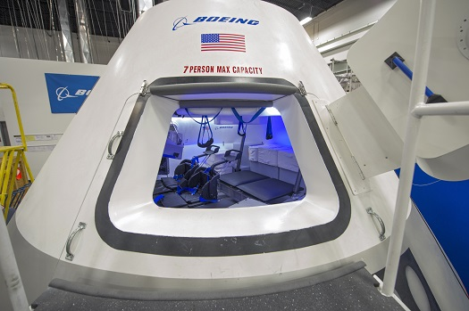 This is a fully outfitted test version of The Boeing Company's CST-100 at the company's Houston Product Support Center in Texas. (Credit:  NASA/Robert Markowitz)