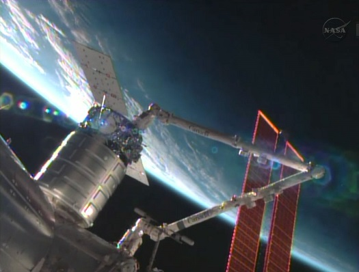 Cygnus berthed at ISS. (Credit: NASA)