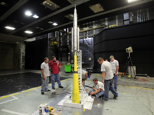NASA engineers and contractors tested four different payload configurations during the liftoff transition testing of a 67.5-inch model of the SLS at NASA Langley Research Center's 14-by-22-foot subsonic wind tunnel in Hampton, Va. (Credit:  NASA/LaRC)