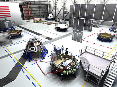 High Bay of KSC facility used to manufacture Boeing CST-100 spacecraft.