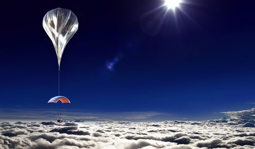 World View balloon and capsule at altitude. (Credit: World View)