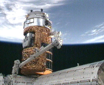 JAXA's HTV attached to ISS. (Credit: NASA)