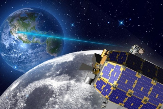 On 22 October 2013, NASA's Lunar Laser Communication Demonstration (LLCD), on board the Lunar Atmosphere and Dust Environment Explorer (LADEE) spacecraft, made history using a pulsed laser beam to transmit data over the 400 000 km between Earth and the Moon at a record-breaking download rate of 622 megabits per second (Mbps). (Credit: NASA)