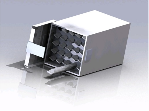 A Fluids Mixing Enclosure (FME) Payload Box containing up to 24 FMEs.(Credit: NanoRacks)