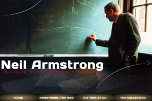 UC's commemorative Armstrong website serves as a digital collection of his life and specifically his time at UC as a professor. The project by the UC Libraries/Archives was created by Carrie Hill-Harriss, Ted Baldwin and Kevin Grace. (Credit: University of Cincinnati)