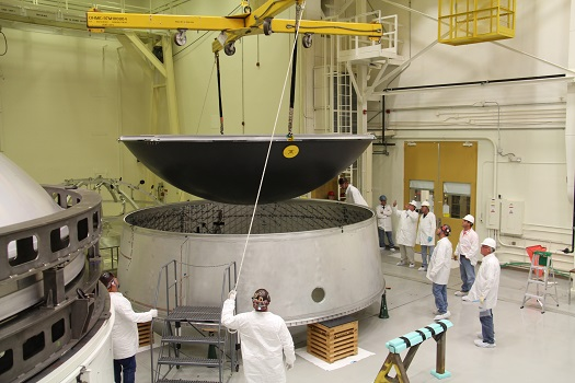 The diaphragm for Exploration Flight Test (EFT)-1 is joined to an adapter prototype for pressurized testing. (Credit: NASA/MSFC)