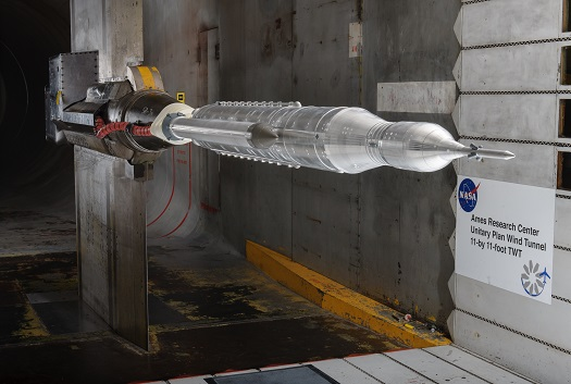 Wind tunnel testing of an SLS scale model at Ames Research Center. (Credit: NASA/ARC/Dominic Hart)