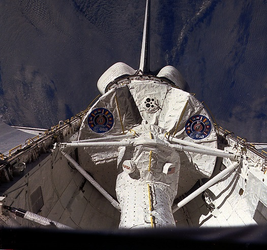 View of Spacelab-1 module in space shuttle Columbia's payload bay during STS-9. (Credit: NASA)