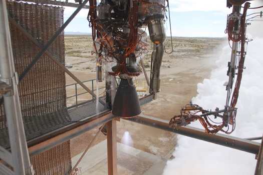 Blue Origin's BE-3 rocket engine ramps up to full power operations of 110,000 lbf thrust. (Credit: Blue Origin)