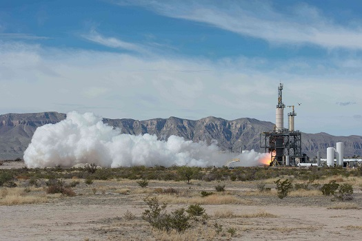 At Blue Origin's West Texas facility, the BE-3 engine demonstrated a full simulated suborbital mission profile, igniting, throttling, and restarting on command. (Credit: NASA)