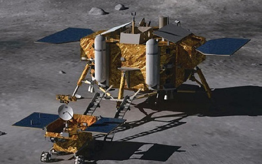 The Chang'e-3 lander and Yutu rover on the moon.
