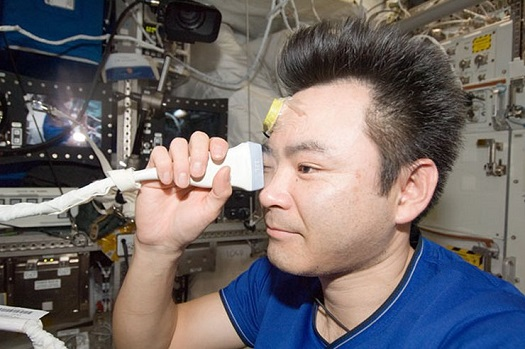 Expedition 33 flight engineer Akihiko Hoshide of the Japan Aerospace Exploration Agency performs ultrasound eye imaging in the Columbus laboratory of the International Space Station. Human research adds to model animal studies to build knowledge of eye health during spaceflight. (Credit: NASA)