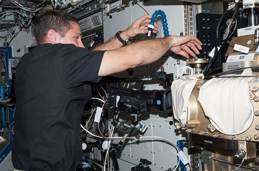 Astronaut Michael Hopkins sets up cameras to record as he works on the Fluids Integrated Rack (FIR) facility cable configuration for the Constrained Vapor Bubble-2 (CVB-2) operations. (Credit: NASA)