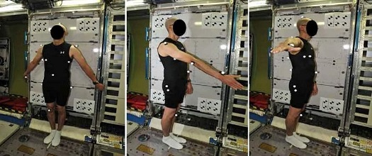 This series of images shows the subject outfitted with body markers and positioned in each of the three poses that will be used for photographic measurements: a front facing posture (left), side with right arm extended 45 degrees (middle), and side with right arm abducted 90 degrees (right). (Credit: NASA)