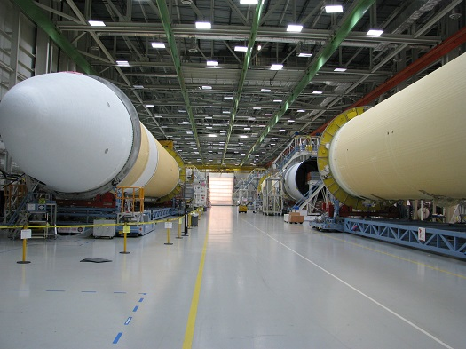 The Delta IV Heavy Lift rocket that will be used for Orion's first mission, Exploration Flight Test-1, is in the final assembly area at United Launch Alliance's factory in Decatur, Ala. (Credit:  NASA)