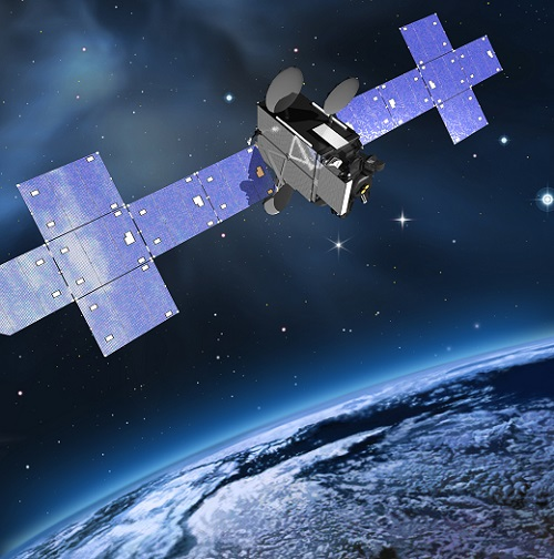 An artist rendering of the Laser Communications Relay Demonstration hosted aboard a Space Systems Loral commercial communications satellite. (Credit: NASA Goddard)