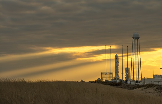Antares rocket on the launch pad on Wallops Island. (Credit: NASA/Bill Ingalls)