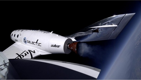 SpaceShipTwo at 71,000 feet over the Mojave. (Credit: Virgin Galactic)