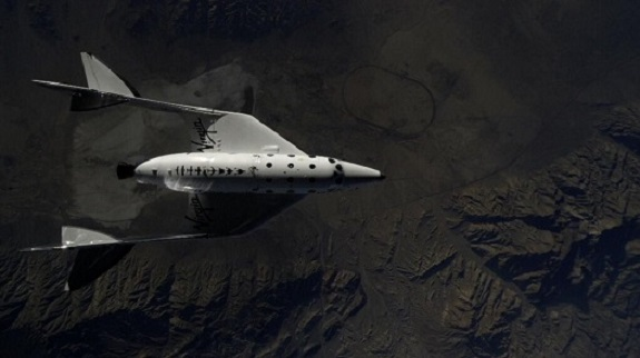 SpaceShipTwo is dropped over Koehn Lake. (Credit: Virgin Galactic)
