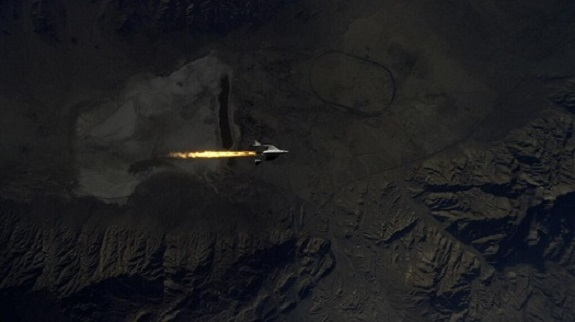 SpaceShipTwo ignites its engines on the third powered flight. (Credit: Virgin Galactic)