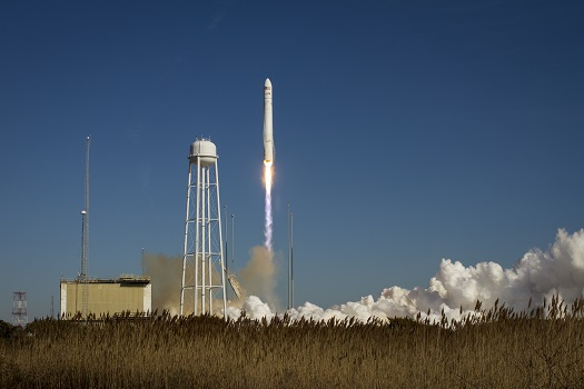 An Orbital Sciences Corporation Antares rocket is seen as it launches from Pad-0A at NASA's Wallops Flight Facility, Thursday, January 9, 2014, Wallops Island, VA. Antares is carrying the Cygnus spacecraft on a cargo resupply mission to the International Space Station. The Orbital-1 mission is Orbital Sciences' first contracted cargo delivery flight to the space station for NASA. Cygnus is carrying science experiments, crew provisions, spare parts and other hardware to the space station. Photo Credit: (NASA/Bill Ingalls)