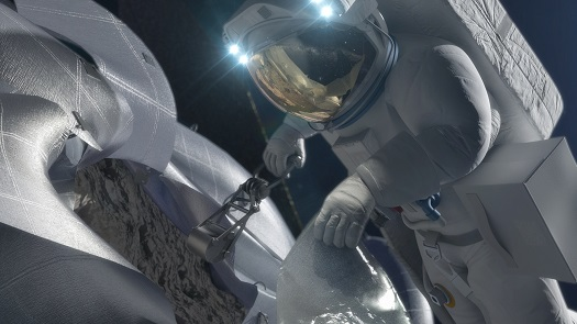 This concept image shows an astronaut retrieving a sample from a captured asteroid. (Credit:  NASA)