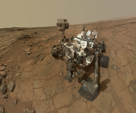 This self-portrait of NASA's Mars rover Curiosity combines dozens of exposures taken by the rover's Mars Hand Lens Imager (MAHLI) on Feb. 3, 2013, plus three exposures taken on May 10, 2013. (Credit: NASA)