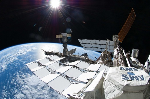 The Alpha Magnetic Spectrometer (AMS) experiment aboard the International Space Station. (Credit: NASA)