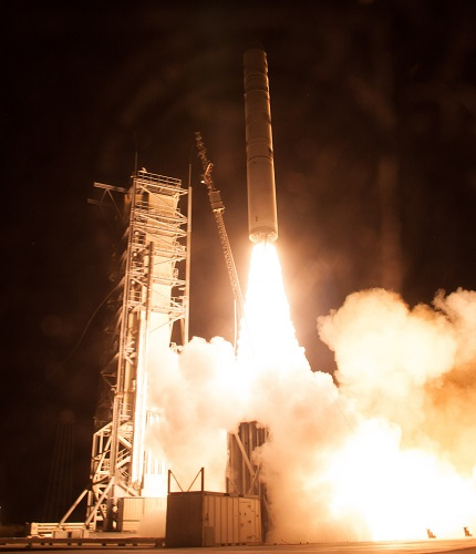 A Minotaur V rocket carrying NASA's Lunar Atmosphere and Dust Environment Explorer (LADEE) lifts off from at NASA's Wallops Flight Facility in Virginia on Friday, Sept. 6, 2013. (Credit: NASA/Chris Perry)