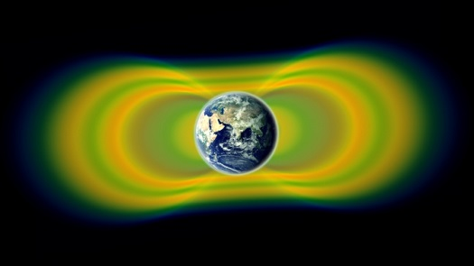 Two giant swaths of radiation, known as the Van Allen Belts, surrounding Earth were discovered in 1958. In 2012, observations from the Van Allen Probes showed that a third belt can sometimes appear. The radiation is shown here in yellow, with green representing the spaces between the belts. (Credit: NASA/Van Allen Probes/Goddard Space Flight Center)