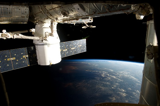 Photo taken by the Expedition 34 crew aboard the International Space Station during the March 3, 2013 approach, capture and docking of the SpaceX Dragon. (Credit: NASA)