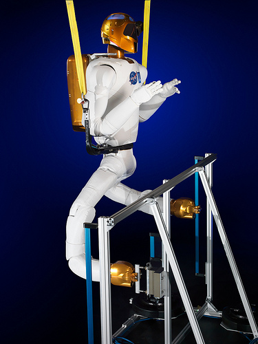 NASA's Robonaut 2 with the newly developed climbing legs, designed to give the robot mobility in zero gravity. (Credit: NASA)