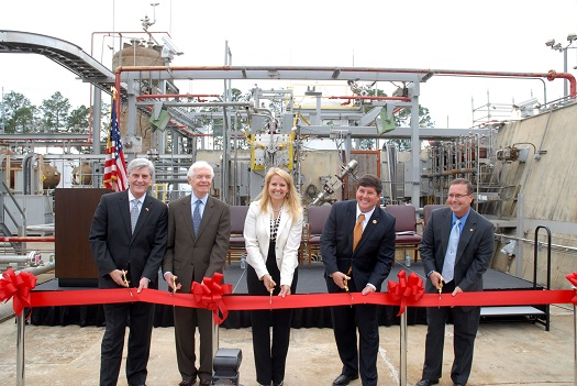 NASA and SpaceX cut the ribbon at the E-2 Test Stand at Stennis Space Center on April 21 to mark the beginning of a new testing partnership. SpaceX will test components of its methane-fueled Raptor rocket engine on the stand. Participants in the ribbon-cutting ceremony were (l to r): Mississippi Gov. Phil Bryant, U.S. Sen. Thad Cochran of Mississippi, SpaceX President and Chief Operating Officer Gwynne Shotwell, U.S. Rep. Steven Palazzo of Mississippi and NASA's Stennis Space Center Director Rick Gilbrech. (Credit: NASA)