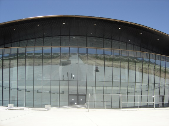 The Virgin Galactic Gateway to Space building with a security fence around it. (Credit: Alex Heard)
