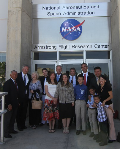 NASA Administrator Charlie Bolden with the Armstrong and Dryden families. (Credit: Douglas Messier)