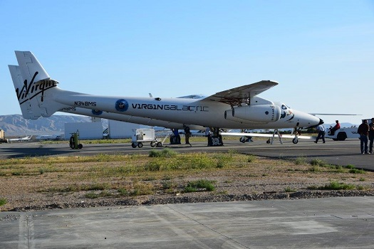 WhiteKnightTwo outside the FAITH hangar in Mojave for tests on its new brakes. (Credit: Virgin Galactic)