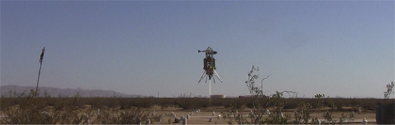 The combined AAS/XA-0.1-B system landing in the hazard field at Mojave. (Credit: Masten Space Systems)