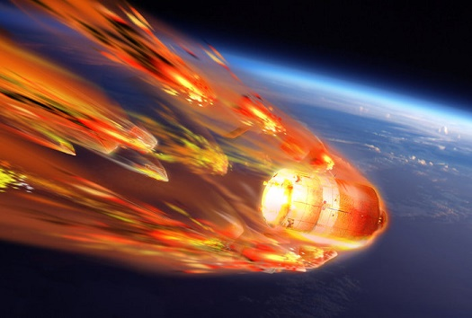 Artist's view of ATV-5's destructive reentry into Earth's atmosphere over the Pacific Ocean. (Credit: ESA–D. Ducros, 2014)