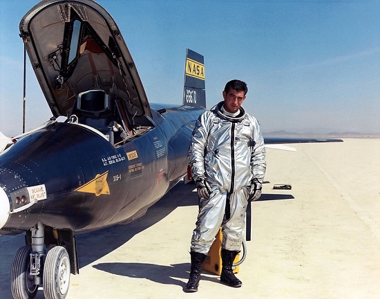 Maj. Michael J. Adams with a X-15 at Edwards Air Force Base, Calif. (Credit: NASA)