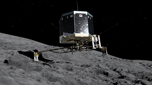 Still image from animation of Philae separating from Rosetta and descending to the surface of comet 67P/Churyumov-Gerasimenko in November 2014. (Credit:  ESA/ATG medialab)