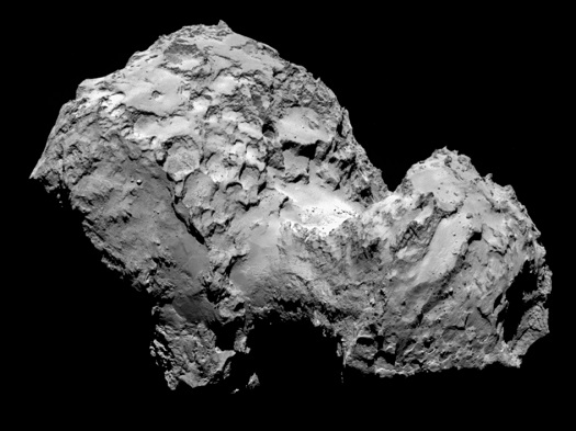 Comet 67P/Churyumov-Gerasimenko by Rosetta's OSIRIS narrow-angle camera on 3 August from a distance of 285 km. The image resolution is 5.3 metres/pixel. (Credits: ESA/Rosetta/MPS for OSIRIS Team MPS/UPD/LAM/IAA/SSO/INTA/UPM/DASP/IDA)