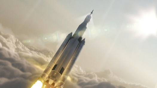 Space Launch System in flight. (Credit: NASA)