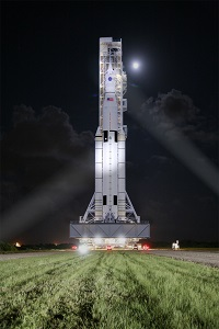 Space Launch System on pad. (Credit: NASA)