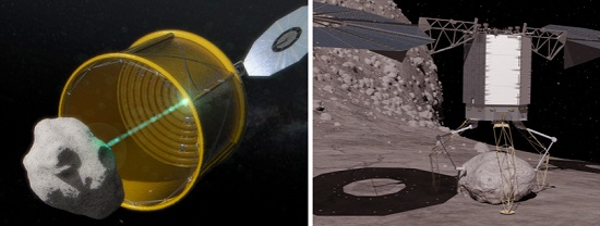 On the left, a notional concept image of ARM robotic capture option A, which would envelop an entire free-flying asteroid. On the right, a notional concept image of ARM robotic capture option B, which would retrieve a bolder from a larger asteroid. (Credit: NASA)