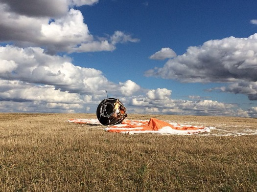 Foton M4 capsule after landing. (Credit: Roscosmos)