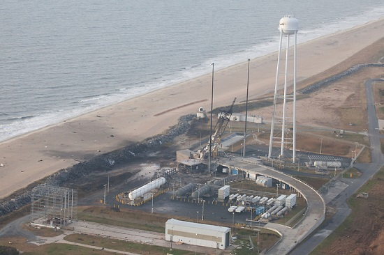 An aerial view of the Wallops Island launch facilities taken by the Wallops Incident Response Team Oct. 29 following the failed launch attempt of Orbital Science Corp.'s Antares rocket Oct. 28. (Credit: NASA/Terry Zaperach)