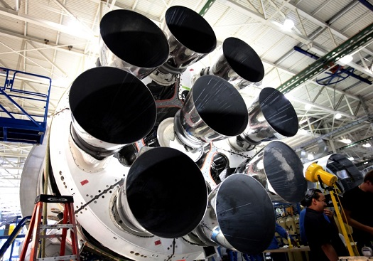 Falcon 9's Merlin 1D engines in an octoweb structure. (Credit: SpaceX)