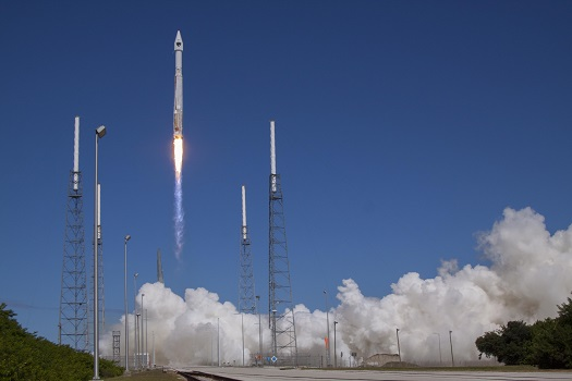 A United Launch Alliance (ULA) Atlas V rocket successfully launched the eighth Global Positioning System (GPS) IIF-8 satellite for the U.S. Air Force at 1:21 p.m. EDT today from Space Launch Complex-41. This is the 50th successful Atlas V mission and the fourth GPS mission for the U.S. Air Force this year.  (Credit: ULA)