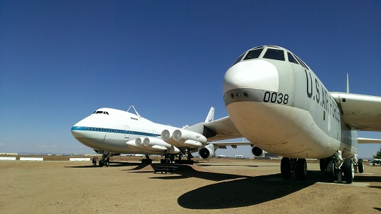 The Shuttle Carrier Aircraft with a B-52 bomber. (Credit: Douglas Messier)