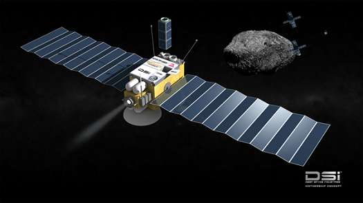 Deep Space Industries is planning a series of reconnaissance spacecraft which will be sent in search of mineral-rich asteroids.  (Credit:  Bryan Versteeg, Deep Space Industries)